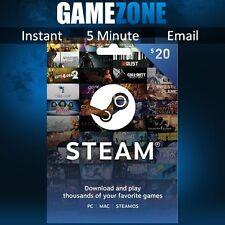 $20 Steam Gift Card - 20 USD US Dollar Prepaid Steam Wallet Game Card Code - USA