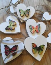 Heart Butterfly Bunting Shabby Chic Real Wood Hearts Double Sided 7ft