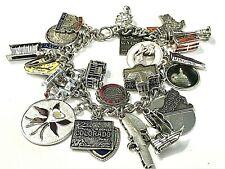 Vintage Sterling Silver US Travel Charm Bracelet Maps Flags Buildings Enamel 71g