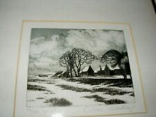 VINTAGE ETCHING 'WINTER' BY GILLIAN STROUDLEY ROYAL ACADEMY ARTIST FRAMED 36/100