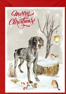 """German Shorthaired Pointer A6 (4""""x6"""") Christmas Card Blank inside - by Starprint"""