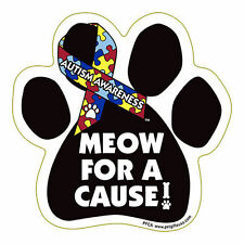Meow For A Cure Autism Awareness Dog Paw Car Magnet