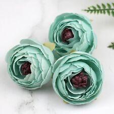 Mint-Retro Camellia bud Artificial silk flowers Heads Bulk Fake Rose/Peony DIY