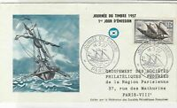 France 1957 Day of Stamp Ship Slogan Cancels Pic + Stamp FDC Cover Ref 31702