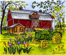 Country Farm Barn Tractor Scene Wood Mounted Rubber Stamp Northwoods P10260 New