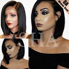 8A Short Bob Human Hair Lace Front Wig Brazilian Virgin Glueless Virgin Hair 1B