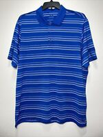 Adidas PureMotion Mens S/S Blue Striped Polo Golf Shirt Size XL At&t