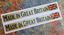 Made in Great Britain Stickers Gold 2x 100x12mm Car Motorbike Union Jack Decal