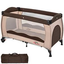 Cuna de viaje portátil plegable con acolchado ajustable para bebé café
