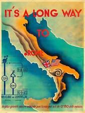PROPAGANDA WAR WWII AXIS FRANCE ITALY SNAIL SLOW ROME MAP FLAG POSTERBB8233B