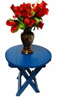 Beautiful Wooden Folding Side Table (13×12×12 inches) (Blue) Furniture