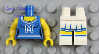 NEW Lego Cheerleader MINIFIG TORSO LEG SET Series 1 Blue Top White Yellow Skirt