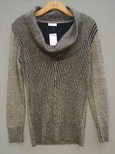 Womens Caché Black Metallic Glittered Cowl Neck Long Sleeve Sweater Size M