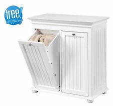 Double Laundry Hamper Tilt Out Beadboard White Wood Cabinet Bin Sorter Storage
