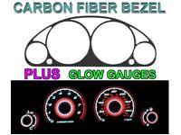 01-02 HONDA CIVIC MANUAL W/ TACH CARBON FIBER BEZEL + RED GLOW GAUGE FACE JDM