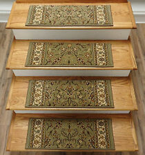 "Rug Depot Set of 13 Traditional Non Slip Carpet Stair Treads 26"" x 9"" Green"
