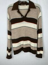 Vintage Large Andhurst Mens Striped Polo Shirt Sweater Brown Long Sleeve Retro