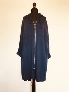 Made In Italy Lagenlook Navy Blue Cotton Parka Jacket - UK 18 20 22 24