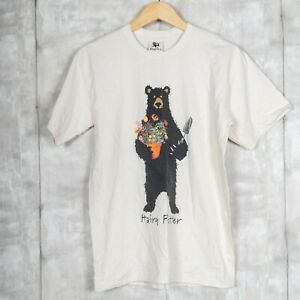 Vintage Wildlife Black Bear T-shirt Size Medium Beige Harry Potter Parody Tee