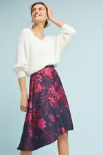 NWT Anthropologie Jacquard Asymmetrical Skirt, by Eva Franco - Pink motif size 8