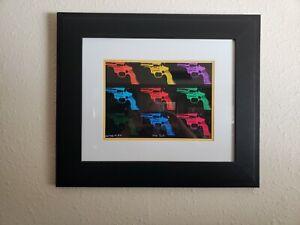 "Andy Warhol Rare ""Gun, C 1982 Nice Custom Framed Portfolio Print Lithograph"