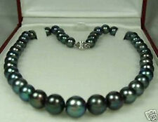 9-10mm Black Tahitian Cultured Pearl Necklace 18''