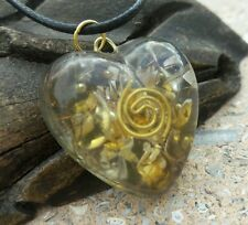 "CITRINE HEALING HEART ORGONE PENDANT WITH 18"" L BLACK CORD.#2"