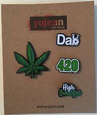 Cannabis Set of 4 Enamel Pin Pack Lapel Bag New Leaf 420 Dab High Beautiful Pot