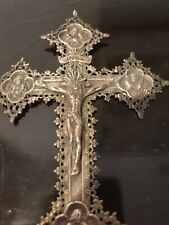 140g total NEOGOTHIC XIXc STERLING SILVER CROSS WITH SCENES 4 EVANGELISTS