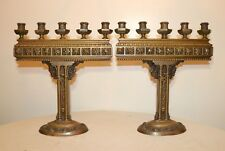 large antique 1800's ornate Victorian solid bronze candelabras candle holders