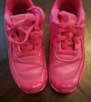 2018 Nike Air Max 90 Laser Fuchsia/White Leather Toddler Shoes Size 10