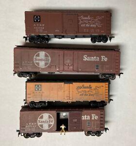 HO Scale Four (4) Model Train Freight Car Santa Fe Boxcar Lot - NICE BARGAIN
