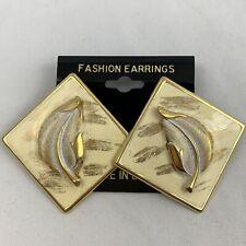Vintage Big Enamel Feather Earrings NOS 80s 90s Cream Gold Tone Diamond Shape