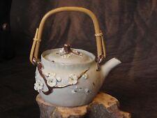 Antique Japanese Banko glazed clay porcelain enamel teapot, artist signed flower