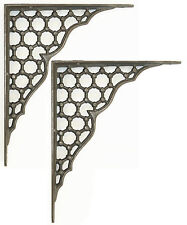 "Pair 10"" / 25cm Large Cast Iron Victorian Antique Honeycomb Wall Shelf Brackets"