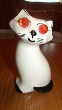 RARE VINTAGE CAT COIN BANK CERAMIC WITH MARBLE EYES 50+ YEARS OLD