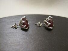 Genuine Ruby Stud Earrings Sterling Silver 10mm