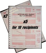 2020 IRS Tax Form 1099-NEC Carbonless for 10 recipients + (2) 1096 --->> NO Env