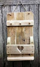 Shabby Chic Driftwood Style Reclaimed Wood Heart Key Holder Hook Letter Rack