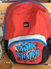 QuikSilver Backpack Boys Youth Red Black Graphic Logo Book Bag Organizer Padded