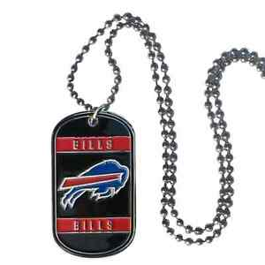Buffalo Bills NFL Team Logo Dog Tag Necklace Neck Tag with Chain Engraveable