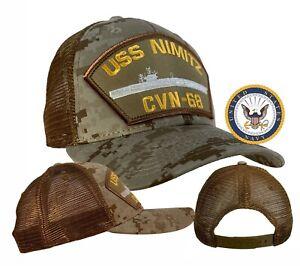 USS Nimitz Hat CVN-68 Hat Digital Tan Camo MESH BACK TRUCKER w/Free Navy Sticker