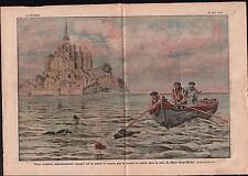 Barque Touristes Grande Marée Baie du Mont Saint-Michel France 1921 ILLUSTRATION