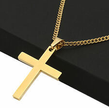"""Mens Stainless Steel Gold Plated Cross Plain Pendant 3mm 24"""" Miami Cuban Chain"""