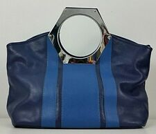 Jonathan Adler Womens Goldie Tote Bag Silver Hex Handle Navy Blue Leather New