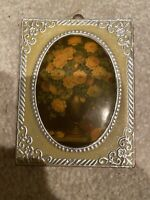 Victirian Vintage Frame Picture With Vase Of Flowers Decorated Front