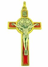 Gold and Silver Toned Base Holy Spirit Crucifix with Red Enamel Overlay, 3 Inch