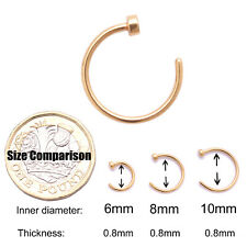 Small Thin Stainless Steel Open Nose Ring Hoop Piercing Stud 6 Colour 1 Size UK Gold 8mm 5 Pcs