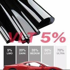 """Window Tint Limo Dark Black 5% VLT 20"""" In x 10' Ft Feet Uncut Roll Car Film Tint"""