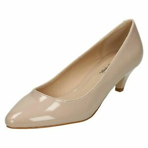 Anne Michelle F9R964 Ladies Nude Patent Cone Heel Court Shoe (R14A)